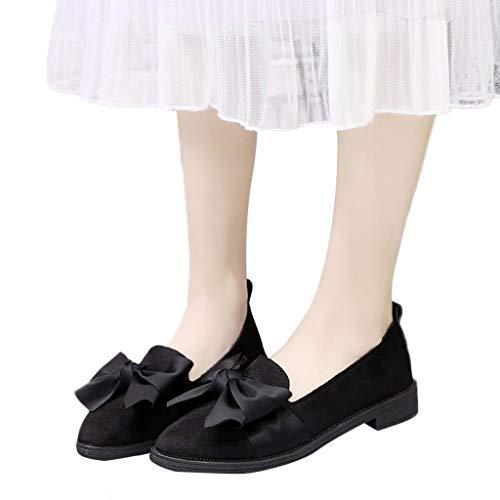 Incantesimo Lavoro Donna Punta Pelle Moda Di Da Scamosciata Flessibile Fascino Scarpe In Nero Quadrato Yunyoud Tacco Pieno Prua scarpe Elastico B7pqff