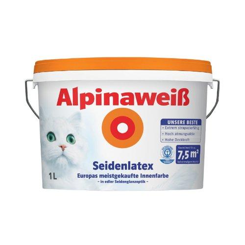 Alpina Weiss Seidenlatex Farbe /Wand und Decken Farbe 1 Liter