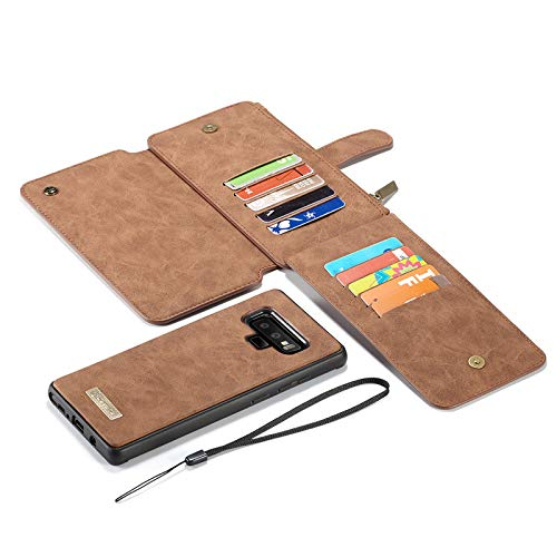 Galaxy Note 9 Magnetic Case, YiMiky Detachable Premium PU Leather Retro Smart Zipper Case Wallet Folio Protective Cover with Card Slots Cash Pocket for Samsung Note 9 6.4 inch(Light Brown)