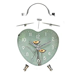 WDINN-nz Heart-Shaped Alarm Clock Mute Lazy Night Light Double Bell Multi-Color Optional (9.5cm 12.5CM) (Color : Green)