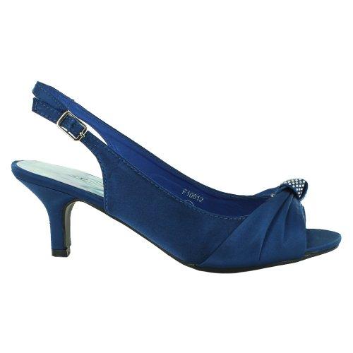 Footwear Sensation - Zapatos destalonados de satén mujer azul - azul