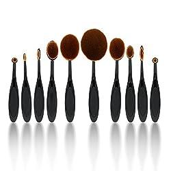 Yoa Professional 10 Pcs Soft Oval Toothbrush Makeup Brush Sets Foundation Brushes Cream Contour Powder Blush Concealer Brush Makeup Cosmetics Tool Set
