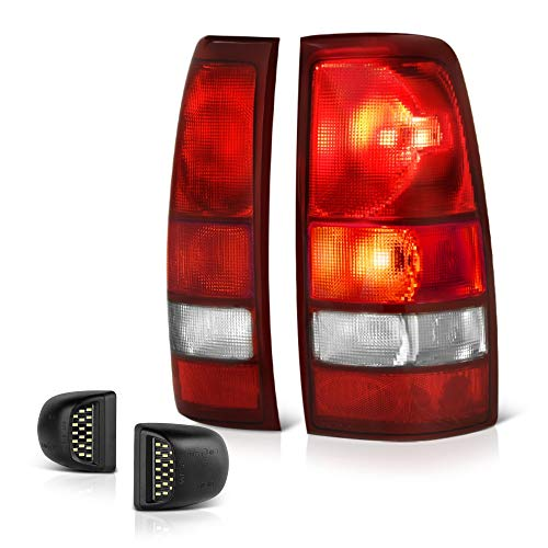 - VIPMOTOZ Red Lens OE-Style Tail Light + Full-LED License Plate Lamp Housing Replacement Bundle For 1999-2002 Chevy Silverado & 1999-2006 GMC Sierra 1500 2500 3500 Pickup Truck