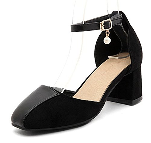 Aisun Women's Stylish Square Toe Mid Chunky Heels Sandals Black 50qNO