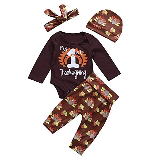 1st Thanksgiving Baby Outfit Infant Boy Girl Set Long Sleeve Bodysuit Pants with Hat and Headband 4Pcs Set