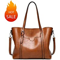 Women Greased Leather Tote Bag Shoulder Bags Top Handle Bag Satchel Bag