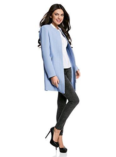oodji Ultra Mujer Abrigo Recto con Cremallera Azul (7000N)