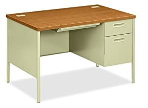"HON Metro Classic Small Office Desk - Right Pedestal Desk with File Drawer, 48"" W, Harvest & Putty (HP3251R)"