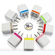 Wall Charger, 10 Pack Dual Port Two-Tone Universal USB Ac Home Travel Plug Adapter for iPhone 6/6S Plus 4/5/5S Samsung Galaxy HTC LG Huawei Google BLU 4/5/6/7 and Most Android Phones 5 Colors