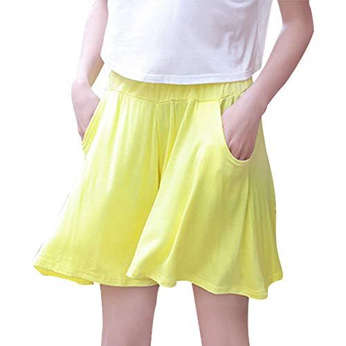 【TaoTech】モダール キュロット パンツ ゆったり 無地 ウエストゴム 7色 ワイドパンツ 体型カバー