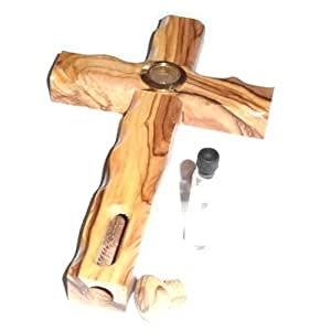 Olive wood Cross with Holy Land Soil and Jordan River water ( 6.5 inches ) - Olive wood with Certificate