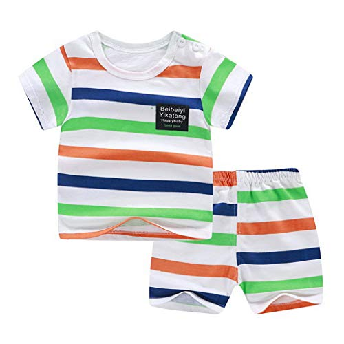 Summer Baby Clothing Set Boys Girls Short Sleeve Striped Cartoon Print Tops T-Shirt Shorts Toddler Outfits Sets 0-3Y(2T,A) ()