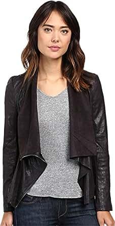 Blank NYC Women's Faux Suede Drape Jacket in Hot Line Bling Black Outerwear LG