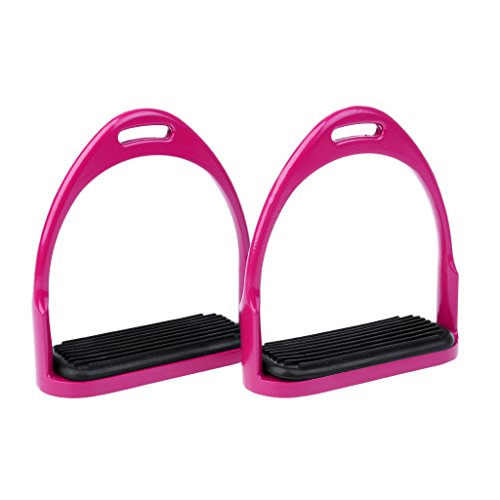 DYNWAVE Stainless Steel/Aluminum Stirrups Horse Riding Safety Stirrup Bendy Irons - Rose Pink ()
