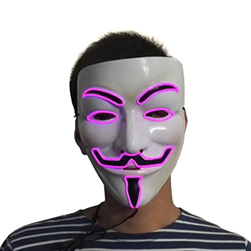 Price comparison product image Flashing V for Vendetta Light up EL wire Mask Halloween Led Rave Mask 10 Color Available(Pink)