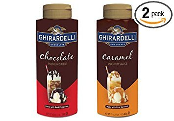 Ghirardelli, Premium Sauce Variety Pack, One Chocolate 16oz & One Caramel 17oz Bottle (Pack of 2 Total (Hot Fudge Chocolate Sauce)