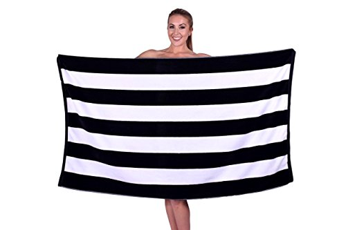 Shiny Black Stripe - Beach Towel, Pool, Oversized 100% Turkish Cotton, XL Extra Large Cabana Stripe Beach Towels, Soft and Absorbent, Velour Top Round Circle Loop Terry Cloth by Puffy Cotton ( Dark Knight Black ) Set of 1