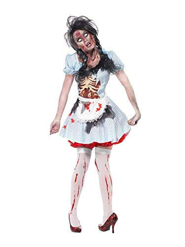Smiffys Women's Horror Zombie Country girl Costume, Dress with Latex Chest Piece and Apron, Zombie Alley, Halloween, Size 6-8, -