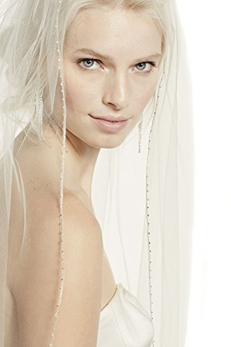 Top-Sexy Champagne 1 Tier 2M Long Bridal Veil with Beaded Metallic Edge 22 by Top-Sexy
