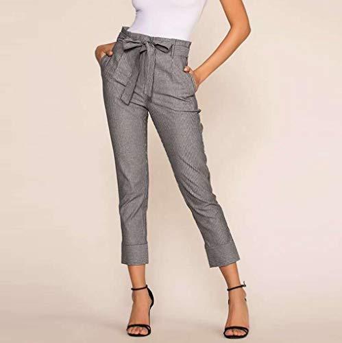 Elastico Pantaloni Ad Alta Zolimx Harem black Pantaloni Slim Nero Donna Donne Casual Stripe Moda Vita Soprt Stretti nn4pATU