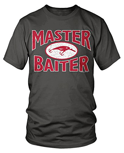 Amdesco Men's Master Baiter, Awesome Funny Fishing T-Shirt, Charcoal Grey 2XL