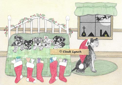 12 Christmas cards: Schnauzer family snuggles in to wait for Santa / Lynch folk art