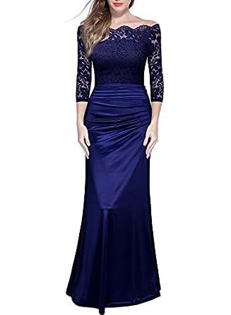 Miusol Women's Retro Off Shoulder Floral Lace Ruched Bridesmaid Maxi Dress