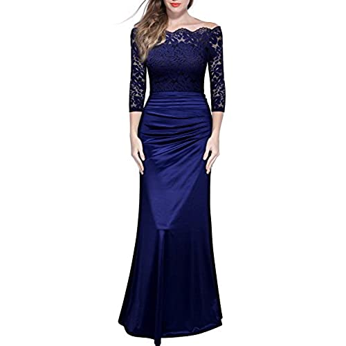Miusol Womens Retro Off Shouler Floral Lace Ruched Bridesmaid Maxi Dress,F-navy Blue,X-Large
