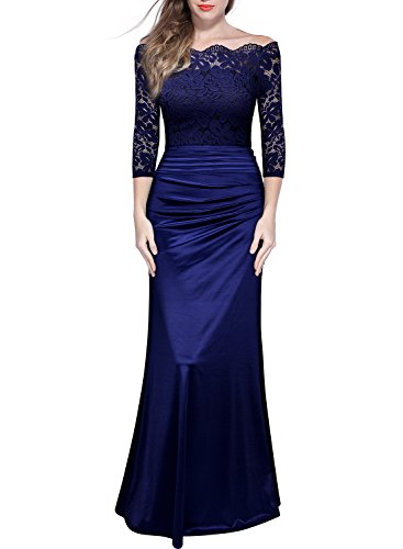 Plus Size Evening Dresses (Miusol Women's Retro Off Shouler Floral Lace Ruched Bridesmaid Maxi Dress)