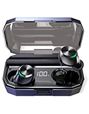 [2019 Newest] Wireless Earphones, Muzili Bluetooth Headphones with LCD Digital Display V5.0 In-ear Earbuds with 3000mAh Charging Box/150H Playtime/Stereo Sound/Touch Control/Noise Canceling/IPX7