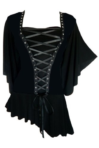 Dare to Wear Victorian Gothic Boho Women's Plus Size Alchemy Corset Top Onyx 1x -