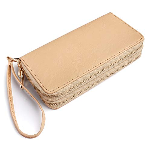 - Classic Zip Around Wallet - PU Leather Double Zipper Clutch Purse with Card & Phone Slots, Removable Wristlet Strap (Sand)