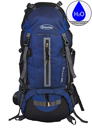 (DURATON Hiking Backpack with Hydration Compatibility (50L) - Daypack with Rain Cover for Outdoor Backpacking Fishing Camping and Travel (Navy)