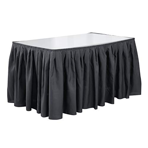 - Deconovo Spillproof 14ft Pleat Table Skirt Stain Resistant Oxford Table Skirt for Party Decoration Dark Gray 1 Piece