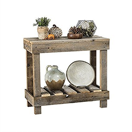 (Del Hutson Designs- Rustic Barnwood Sofa Table, USA Handmade Reclaimed Wood (Natural))