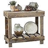 del Hutson Designs- Rustic Barnwood Sofa Table, USA Handmade Reclaimed Wood (Natural)