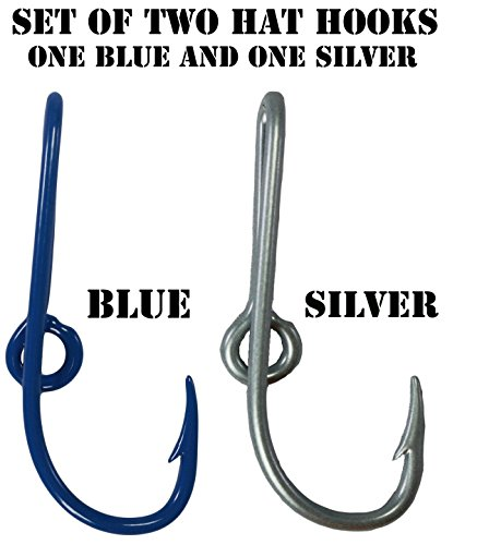 (BT Outdoors Custom Colored Eagle Claw Hat Fish Hooks for Cap -Set of Two Hat pins- One Blue and One Silver Hat Hook Money/Tie Clasp)