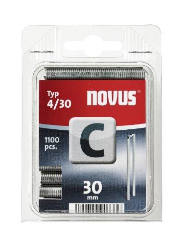 Novus C 4 Schmalrückenklammern mit 30 mm Länge, Klarsichtverpackung mit 1100 Klammern vom Typ 4/30, optimales Heftmittel zur Befestigung von Profilhölzern Paneelen und Holzfaserplatten, 042-0461