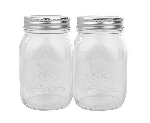 Golden Spoon Mason Jars, With Regular Lids, and Lids for Drinking, Regular Mouth, Dishwasher Safe, BPA Free, (Set of 2) (16 oz/Pint)