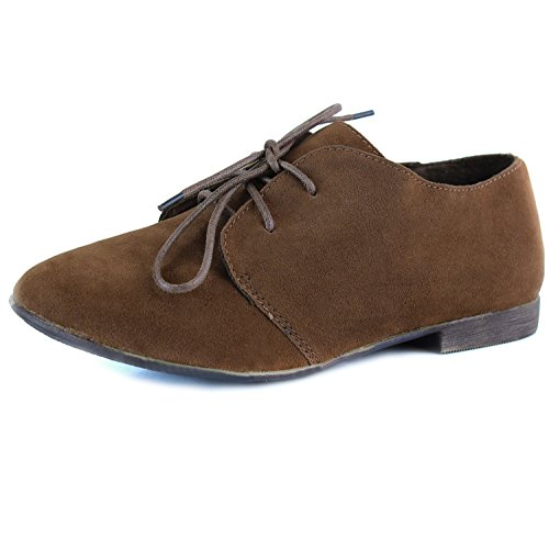Breckelle Sandy-31s, Cute Designer Look Oxford Flat Tan