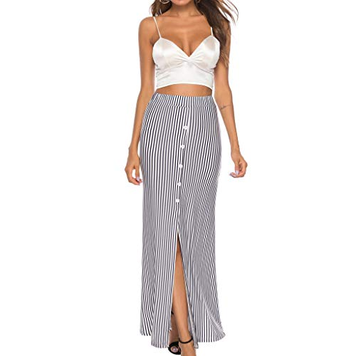lkoezi Ankle-Length Skirt for Women, Skirt Sexy Striped Print Knee Skirt Buttons Open Fork Casual Skirt Summer Cool