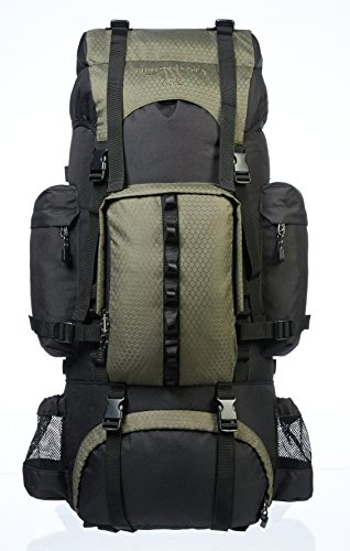 AmazonBasics Internal Frame Hiking Backpack with Rainfly, 65 L, Green