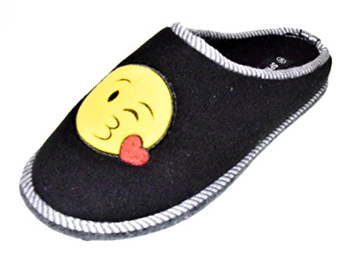 TMY -Kinder Filzpantoffeln mit Filzsohle/ Filzlatschen in Schwarz - Gelb mit Emoji, Gr. von 30-35