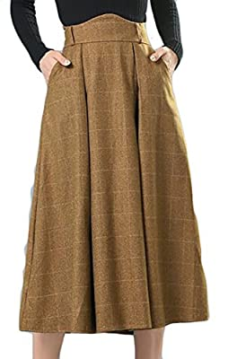 Fulok Womens Plaid Flared A-Line Fall/Winter Wool-Blend Long Skirt