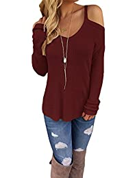 Dokotoo Womens Cold Open Shoulder Loose Knitted Sweater...