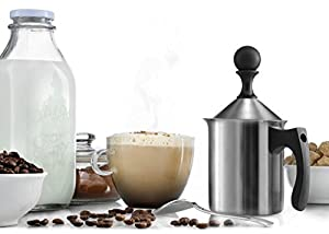 Francois et Mimi Milk and Creamer Frother Coffee Foam Pitcher with Handle and Lid, Stainless Steel, 14-Ounce Capacity, for Cappuccino and More by Francois et Mimi