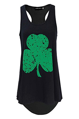 DREAGAL Women's ST Patricks Day Distressed Green Four Leaf Clover Burnout Racerback Black S -