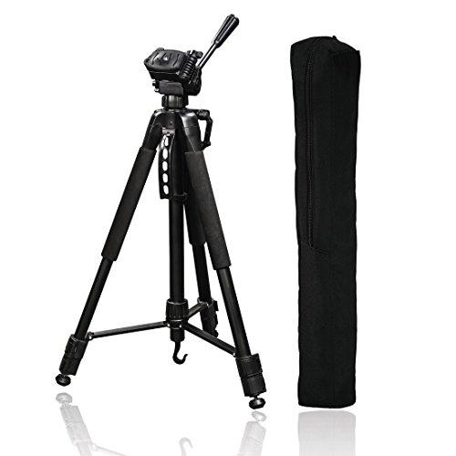 Hama - Trípode Action 165 3D (altura 61-165 cm, rótula de bola de 3 mandos, pies de goma y puntas, carga máxima de 4 kg, peso ligero de 1320 g, trípode para cámara con bolsa de transporte), negro