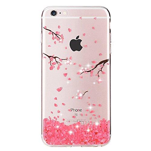 iPhone 6S Case,iPhone 6 Case,IKASEFU Luxury Crystal Rhinestone Bling Diamond Glitter Soft Rubber Rose Cherry Blossoms Flower Case Clear Transparent Silicone TPU Bumper Case Cover for iPhone (Diamond Tpu Rubber Case)