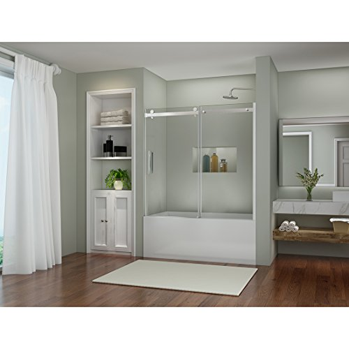 SUNNY SHOWER B038 New Frameless Sliding Bathtub Shower Door, 5/16